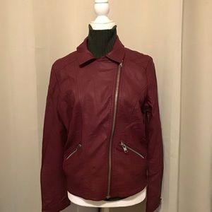 Burgundy Leather Jacket.  Forever 21. L